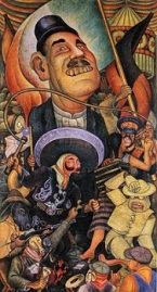 Oil Paintings - Artists - R - Rid - Rog - Rivera, Diego - Carnival of Mexican Life Dictatorship 1936