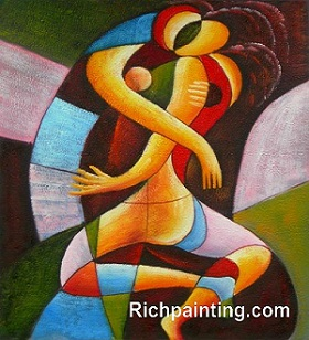 Abstract-Oil-Painting-Kiss-on-Canvas